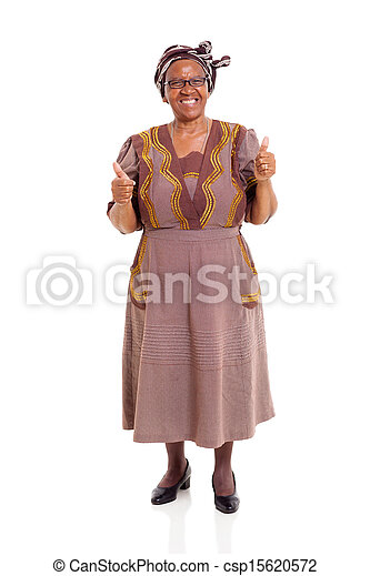 elderly african woman giving thumbs up - csp15620572