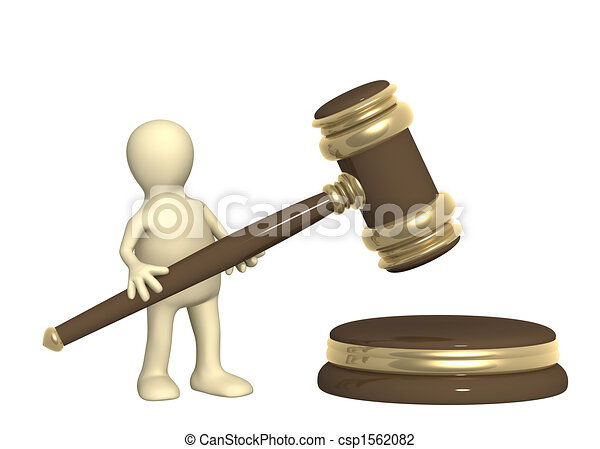 Puppet with judicial gavel - csp1562082