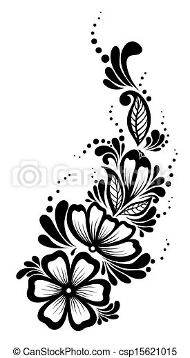 Beautiful floral element. Black-and-white flowers and leaves design element. Floral design element in retro style. - csp15621015