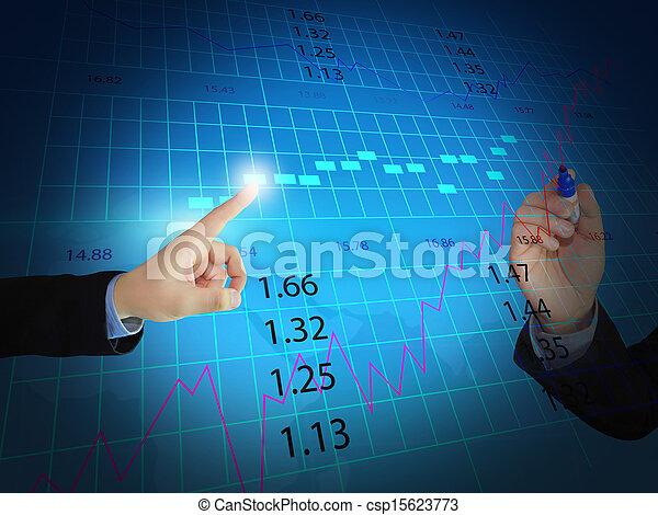 businessman press stock exchange chart - csp15623773