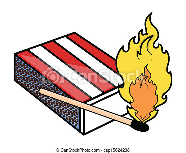 clip art box of matches with a lit match