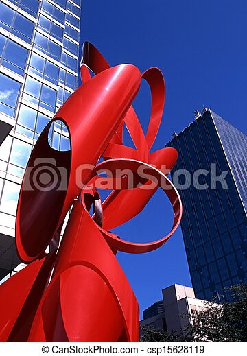 Red sculpture outside the office building, Dallas, Texas, USA.