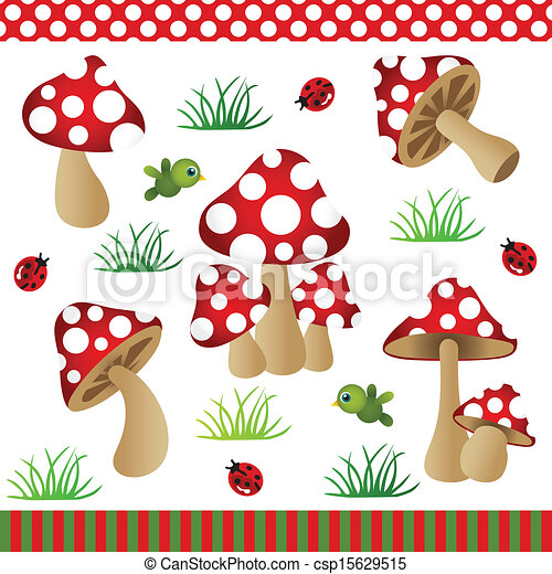 Vector Clip Art of Mushrooms Digital Collage - Scalable vectorial ...