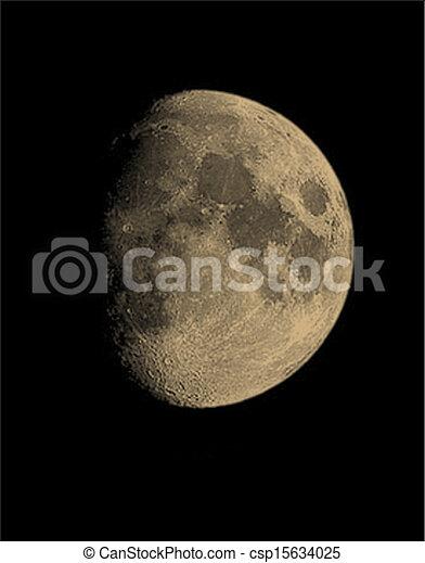 Waxing Moon - csp15634025Waxing Gibbous Moon Clipart
