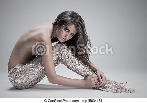 Fashion Fantasy Mermaid. Studio Shot. Gray Background. - csp15634181