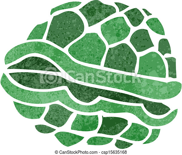 Clip Art Vector of retro cartoon turtle shell - Retro ...