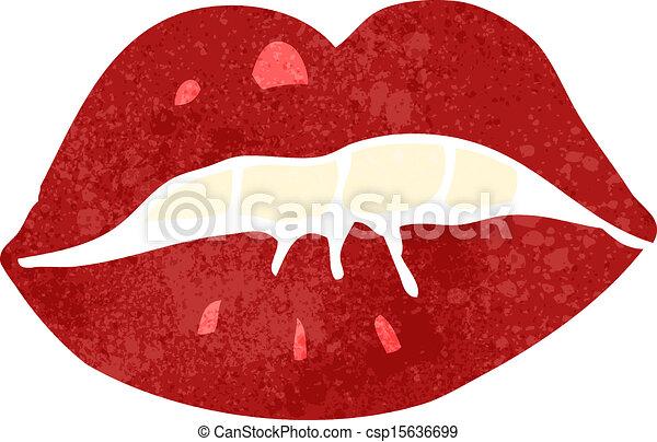EPS vectores de Retro, caricatura, brillante, rojo, labios, Morder ...