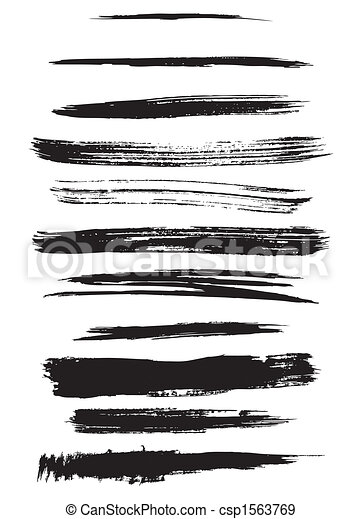 outline traces of paint brushes - csp1563769