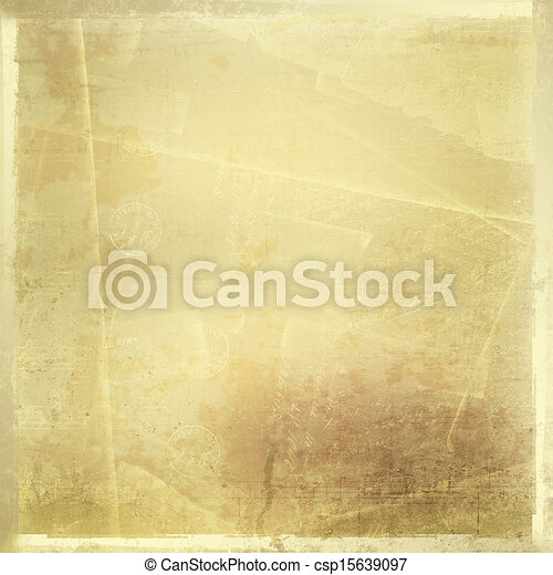 Abstract ancient background in scrapbooking style with gold ornamental - csp15639097