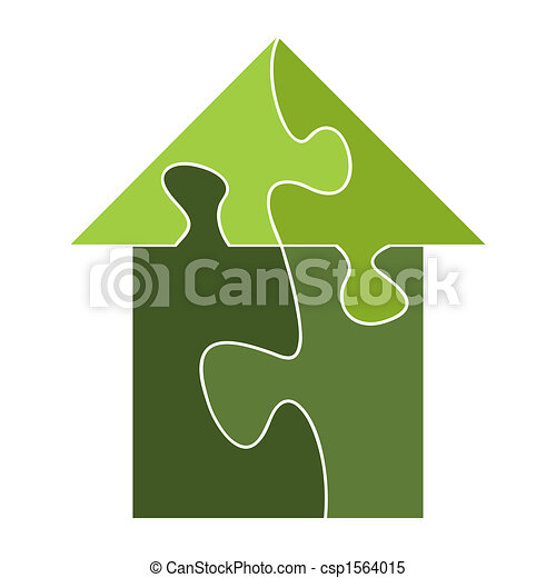 House built out of puzzle pieces - csp1564015