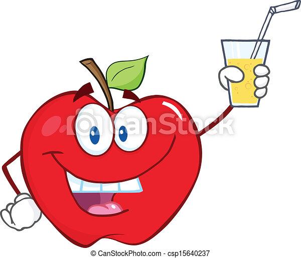 Vecteurs de verre boisson pomme tenue smiling apple - Dessin pomme apple ...
