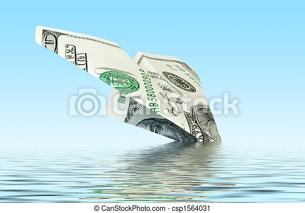 finances crisis. money plane wreck - csp1564031