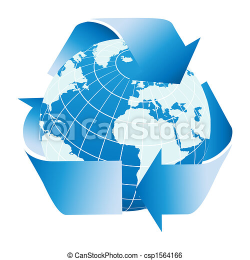 Globe of the Earth with recycle symbol - csp1564166