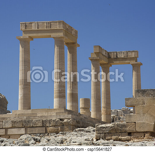 Ancient Acropolis in Rhodes. Lindos city. Greece - csp15641827