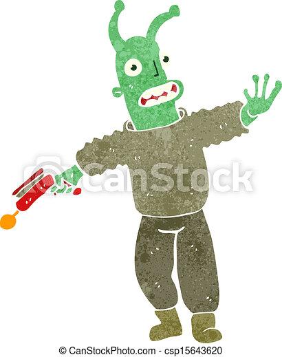 Vector retro cartoon alien spaceman stock illustration royalty
