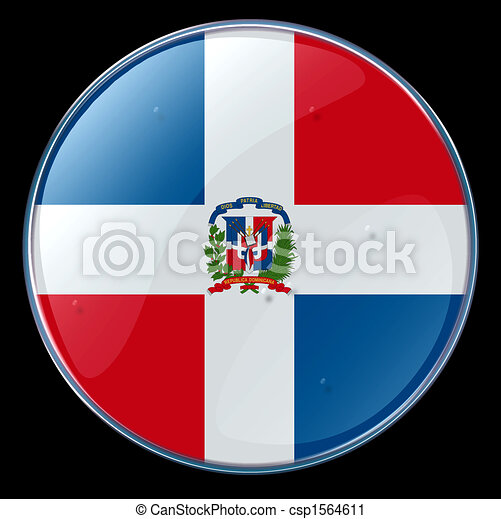 Dominican Republic Flag Button - csp1564611