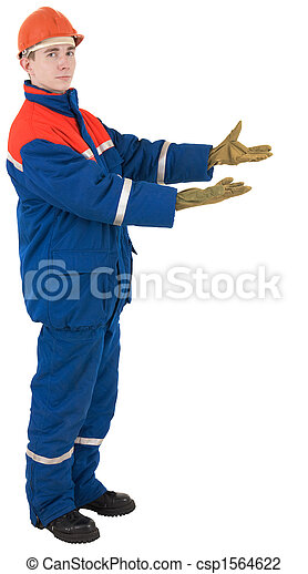 Worker in overalls and a helmet - csp1564622