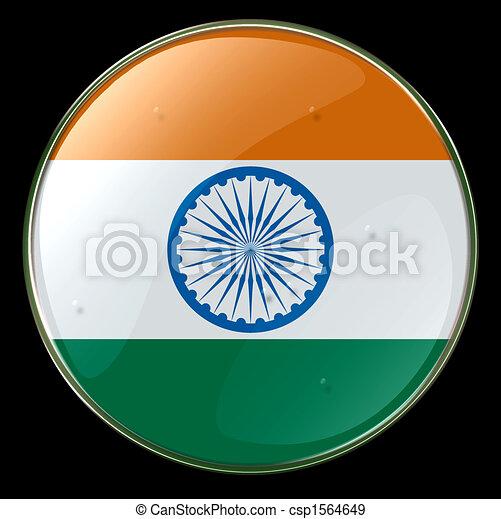 India Flag Button - csp1564649