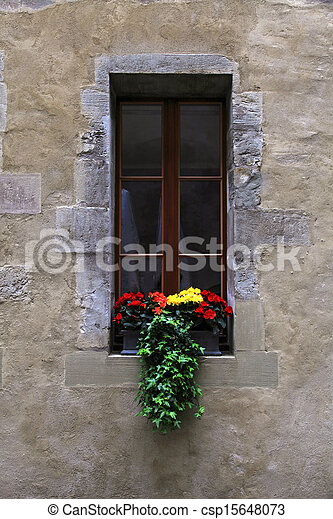 Vintage window with flowers and window box