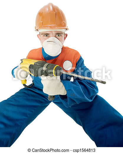 Labourer with hand drill - csp1564813