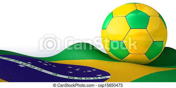 Brazilian Flag And Soccer Ball - csp15650473