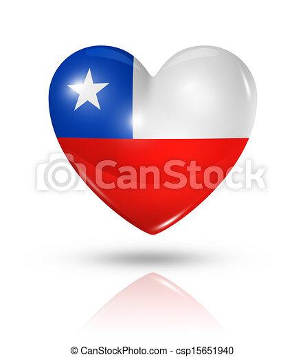 Love Chile, heart flag icon - csp15651940