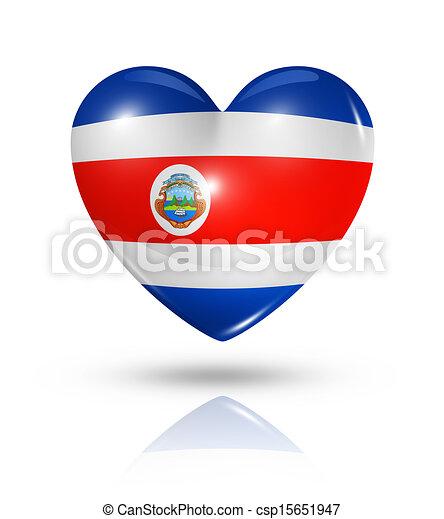 costa, Amor, Coração, bandeira,  rica, ícone - csp15651947