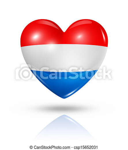 Love Netherlands, heart flag icon - csp15652031