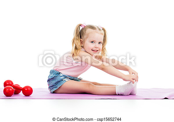 Child girl doing fitness exercises - csp15652744