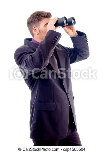 handsome young attorney with binoculars - csp1565504