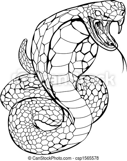 Vecteur de cobra serpent illustration noir et blanc - Dessin de serpent cobra ...