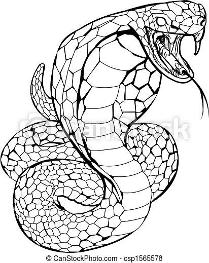 Vettore di cobra serpente illustrazione nero bianco for Serpente nero italiano