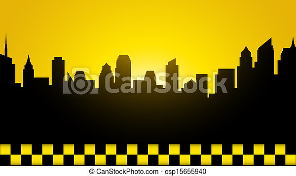 business card with evening city - csp15655940