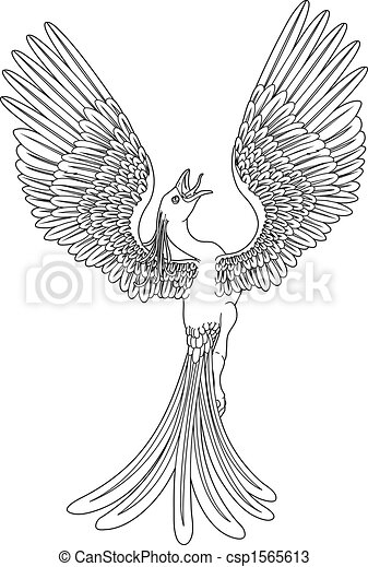 black and white phoenix in a pose with its wings outstretched and ...