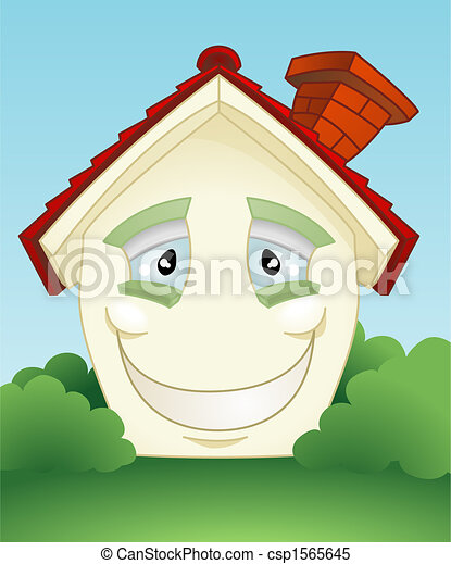 Happy smiling house character - csp1565645