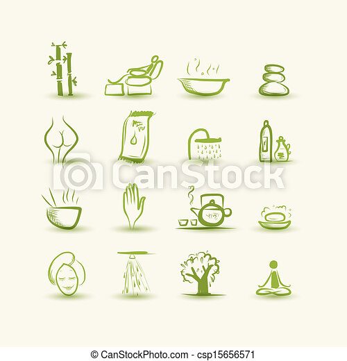 Vectors Illustration of Massage and spa, set of icons for your ...