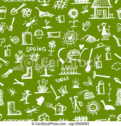garden tools sketch seamless pattern for your design csp15656583