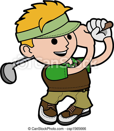 Illustration of young man golfing - csp1565666