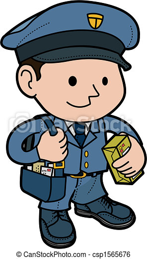 Clip Art Vector of Illustration of mailman in uniform with post ...