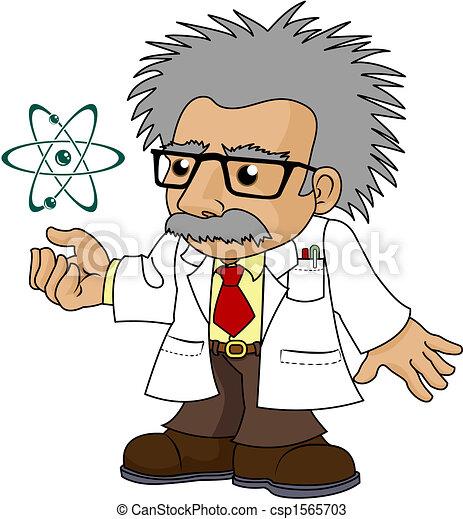 Illustration of nutty science professor - csp1565703