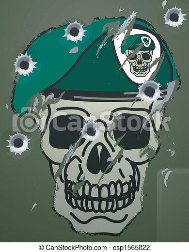 Retro skull and beret military motif - csp1565822