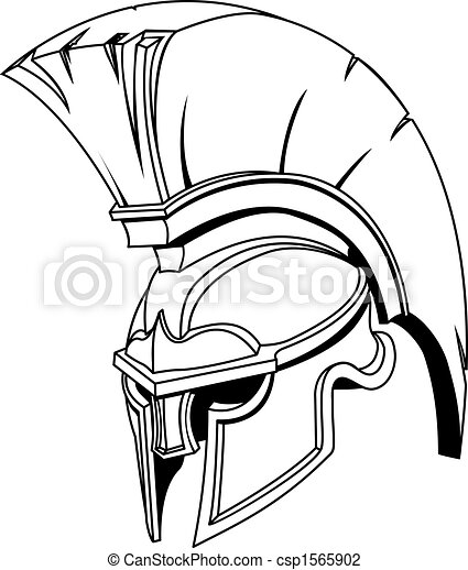 Illustration of Spartan roman greek trojan or gladiator helmet - csp1565902
