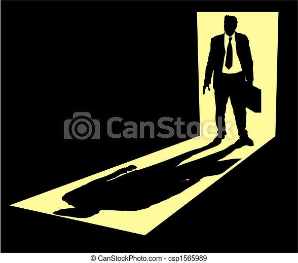 Illustration of businessman with briefcase standing in doorway - csp1565989