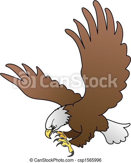 Illustration of bald eagle with spread wings - csp1565996
