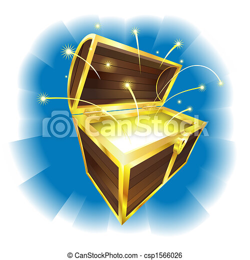 Illustration of treasure chest with sparks flying - csp1566026
