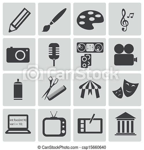 Vector black art icons set - csp15660640
