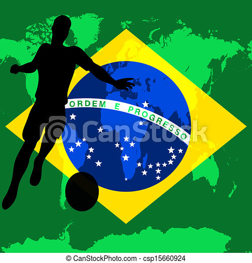 Brazil 2014, Brazilian flag vector illustration for an international football / soccer championship - csp15660924