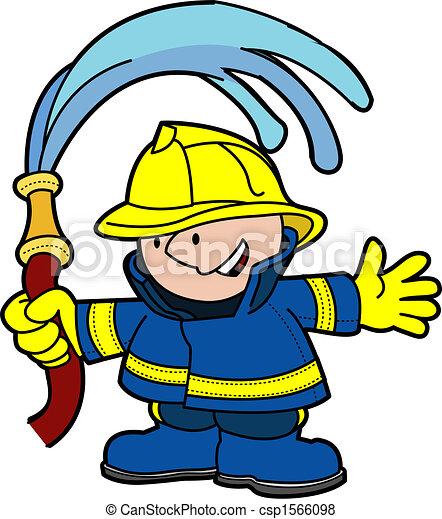 Illustration of fireman holding water hose - csp1566098