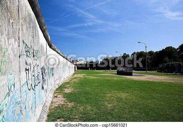 Berlin Wall Memorial with graffiti.  - csp15661021