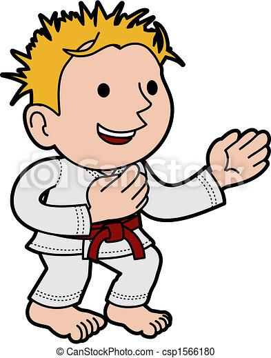 Illustration of boy doing karate - csp1566180
